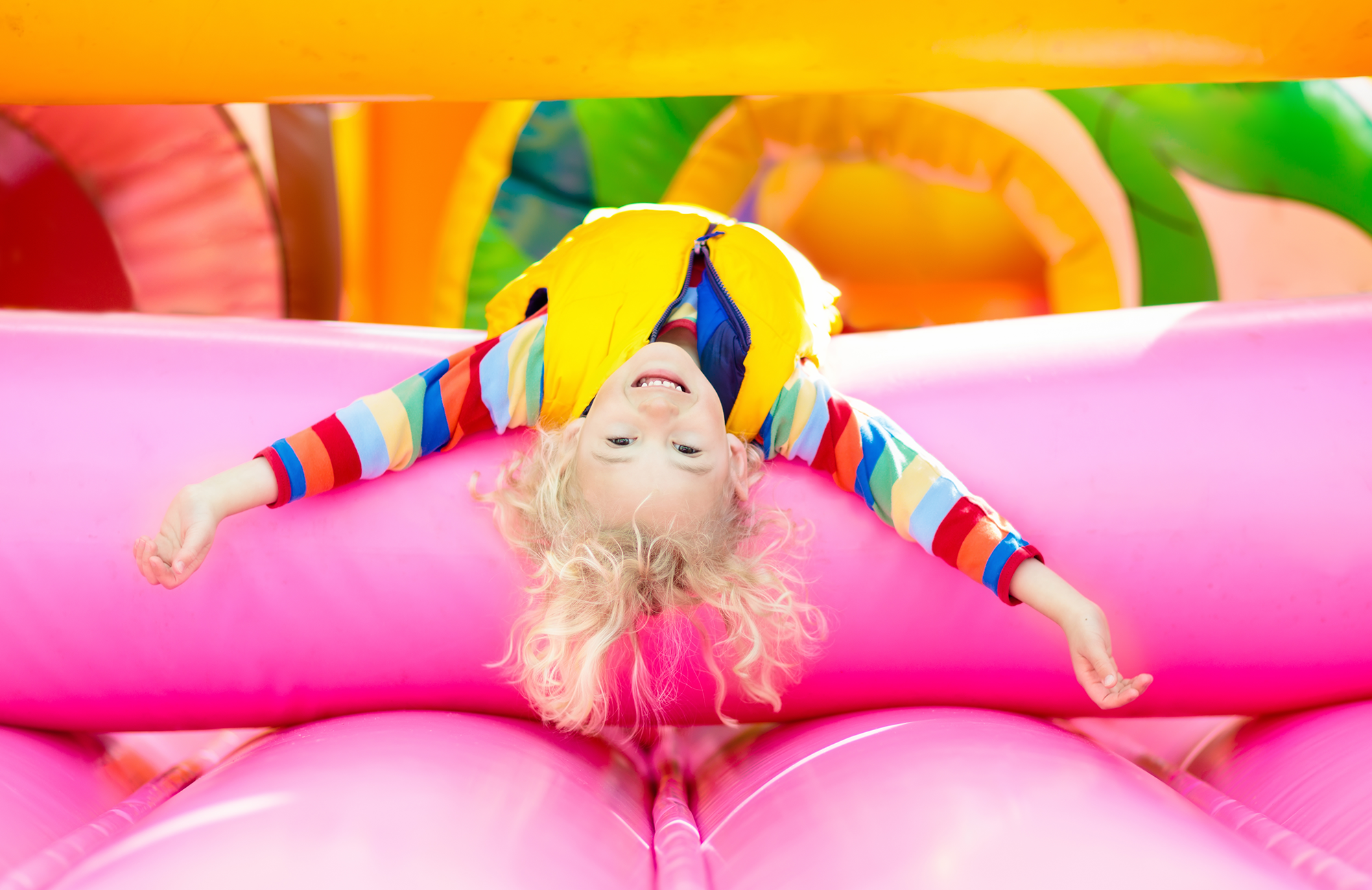 Girl on pink trampoline png